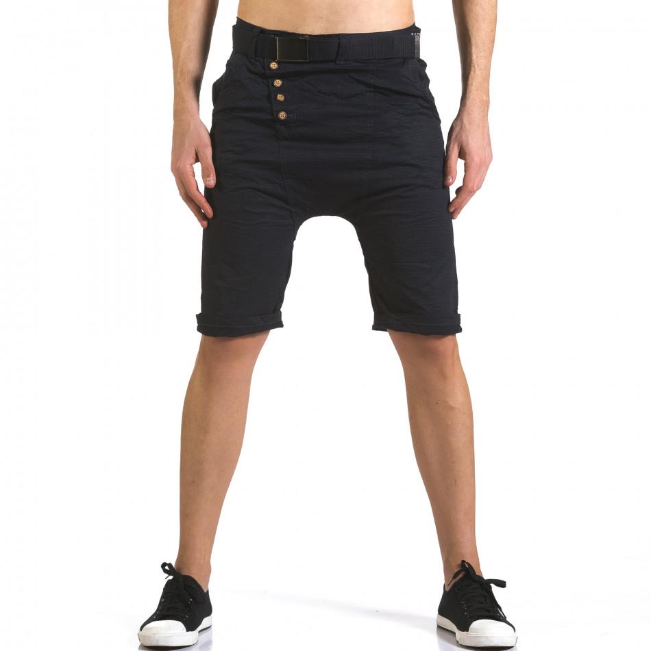 Мъжки сини къси панталони с колан it110316-43