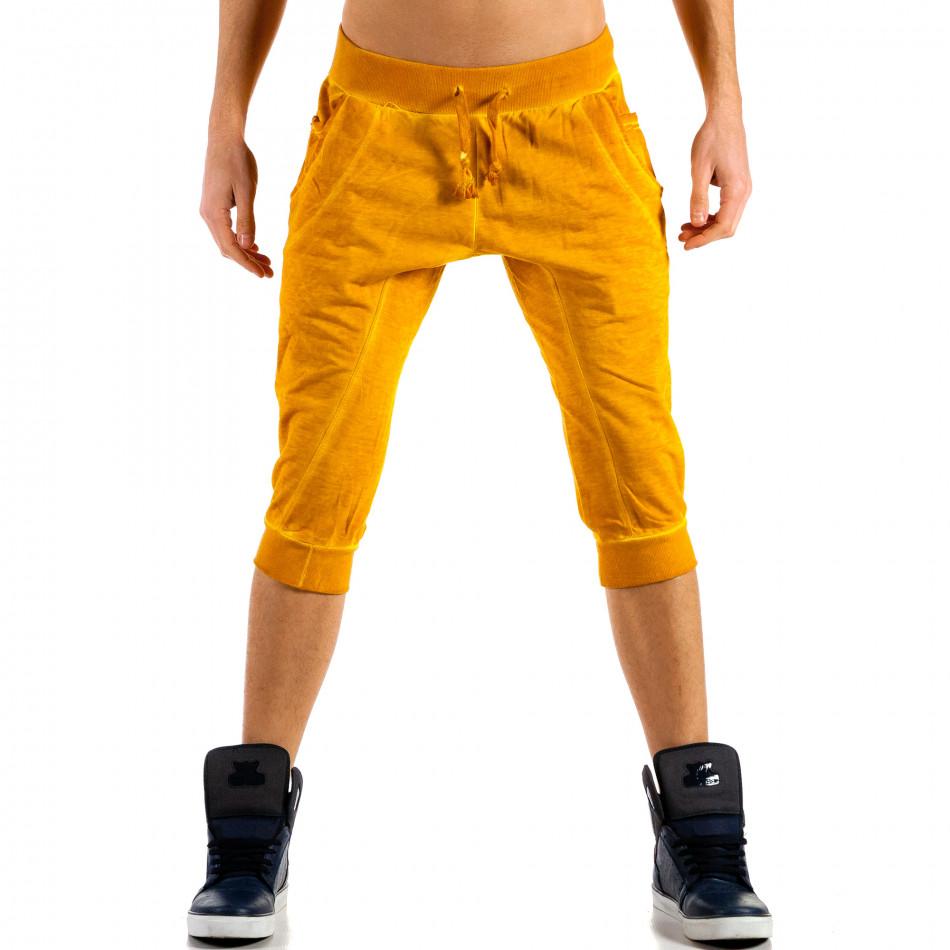 Мъжки жълти къси панталони с изтрит ефект  ca100514-14