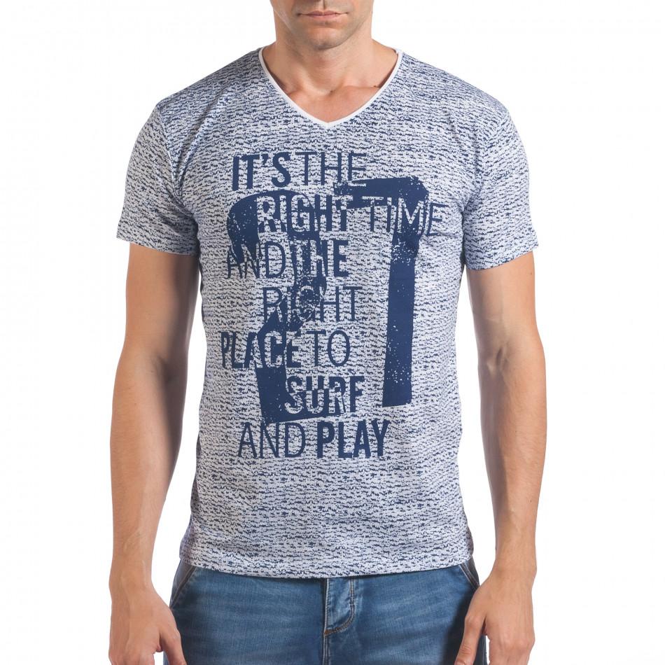 Мъжка бяло-синя тениска с надпис и номер 27 il060616-57