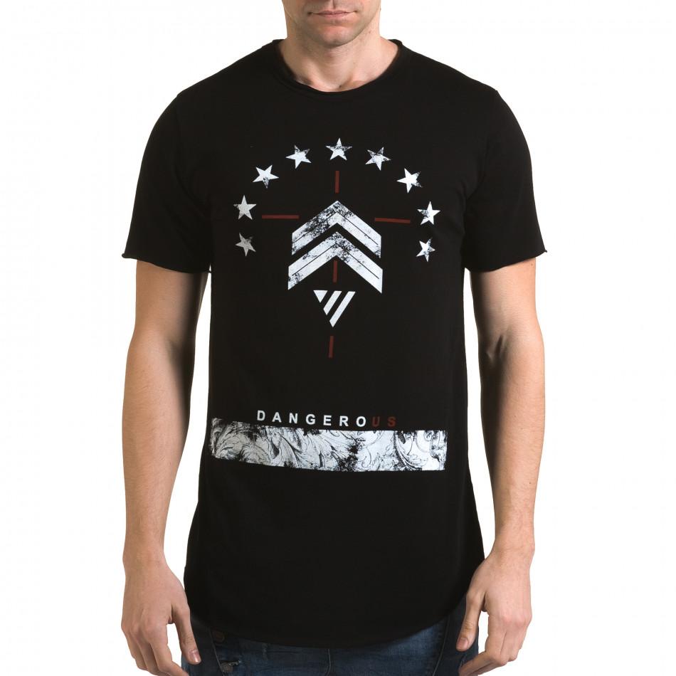 Мъжка черна издължена тениска с принт звезди it090216-71