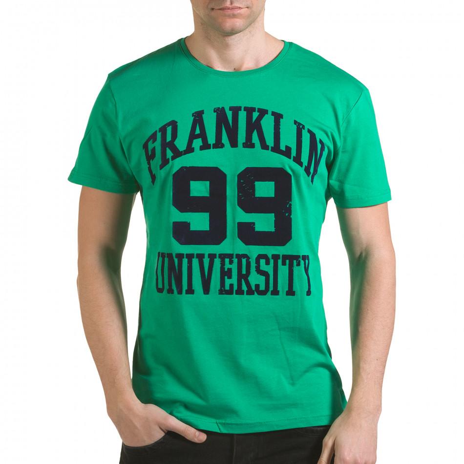 Мъжка зелена тениска с релефен надпис Franklin 99 il170216-1