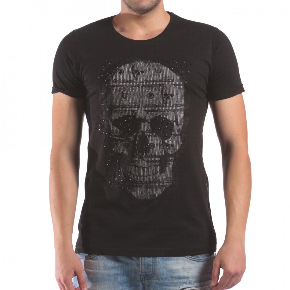 Мъжка черна тениска с череп с мрежеста материя il210616-4