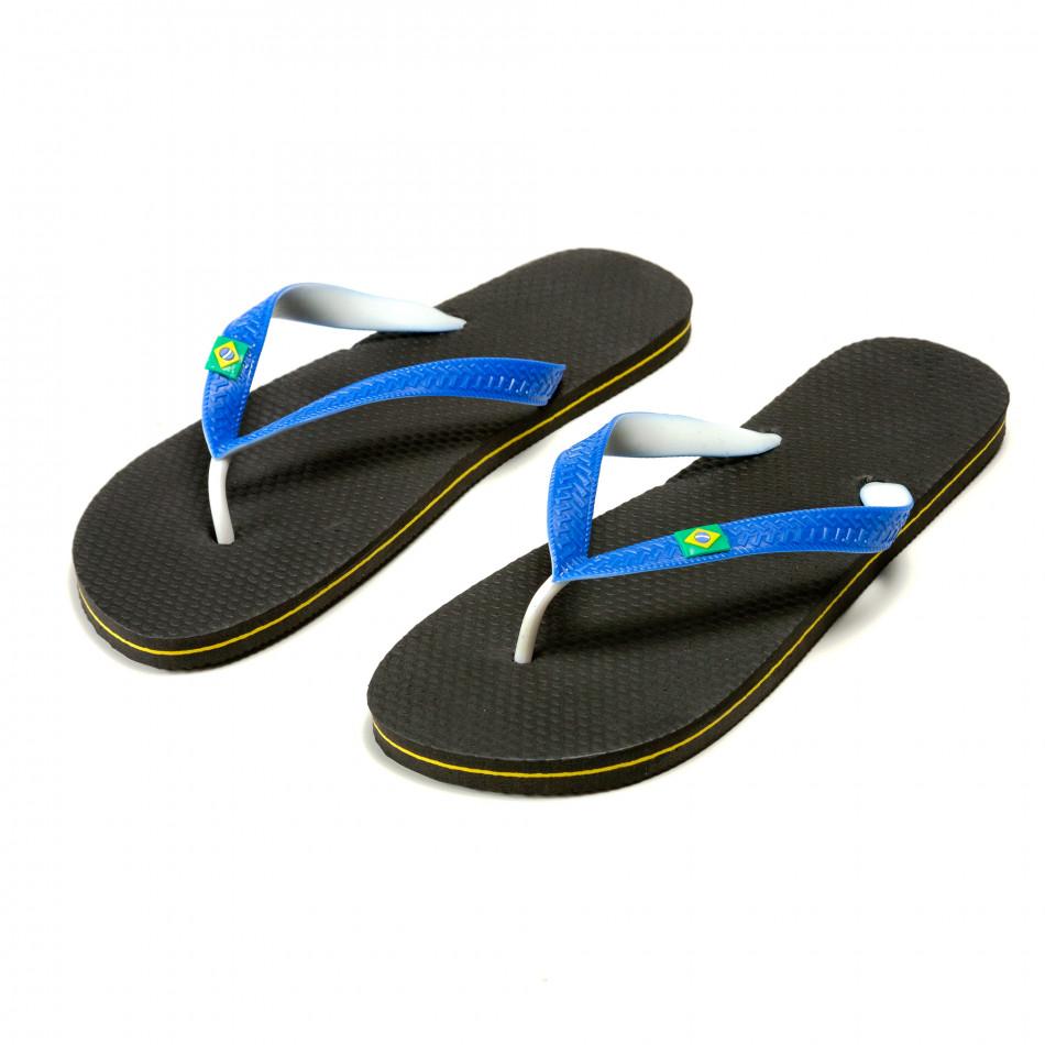 Мъжки черни джапанки със сини ленти Brazil it240415-34