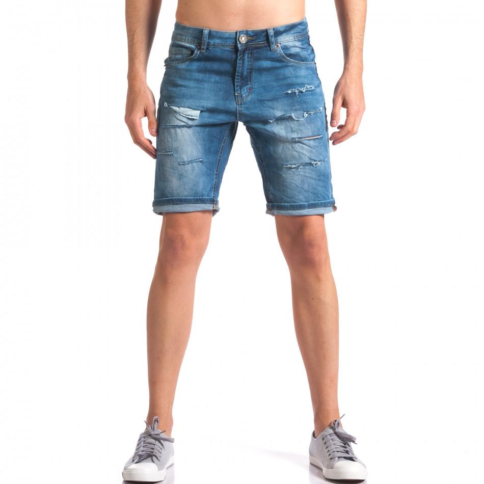 Светло сини къси дънкови панталони със скъсвания it250416-37