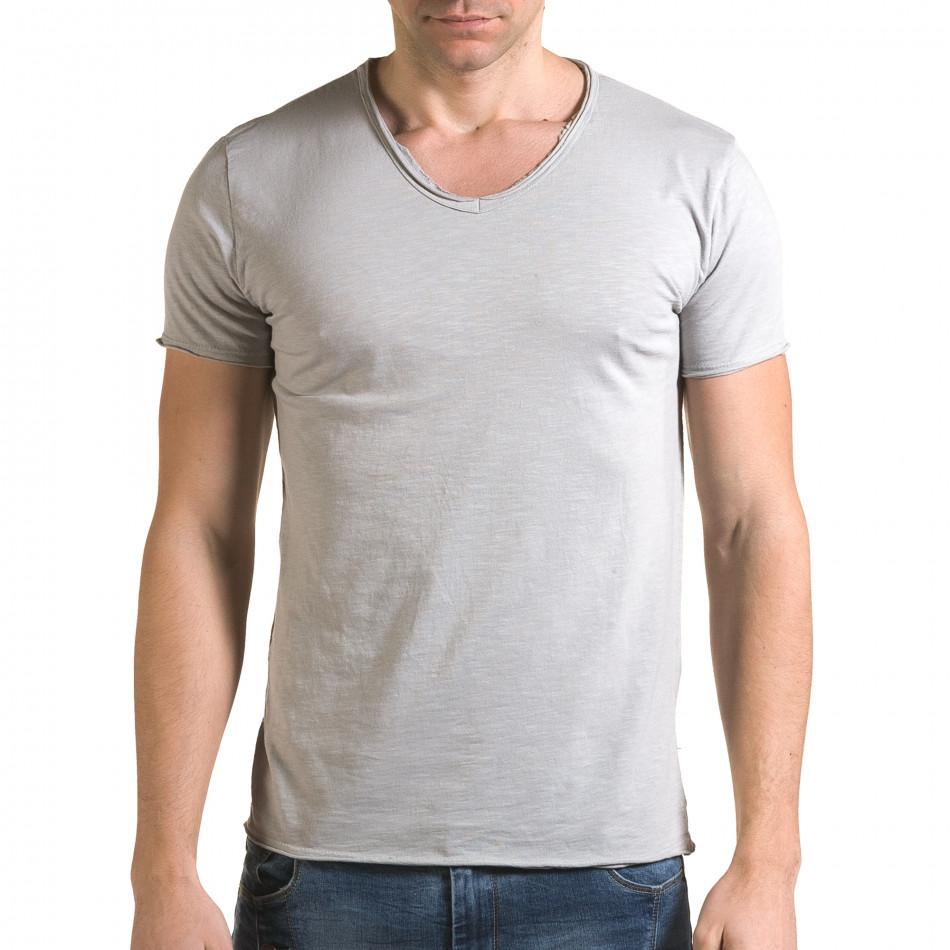 Мъжка сива тениска изчистен модел it090216-77