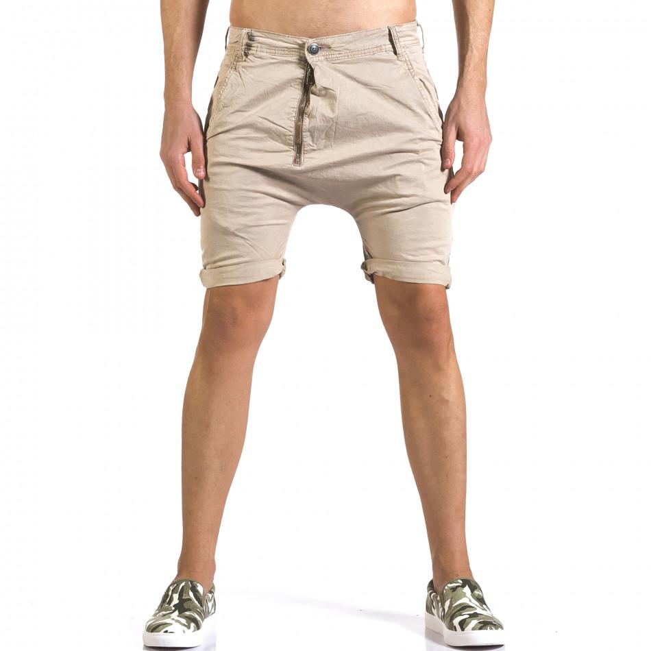Мъжки бежови къси панталони със смъкнато дъно it110316-35
