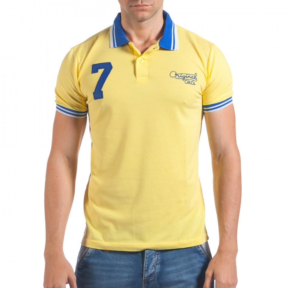 Мъжка жълта тениска с яка със син номер 7 il060616-100