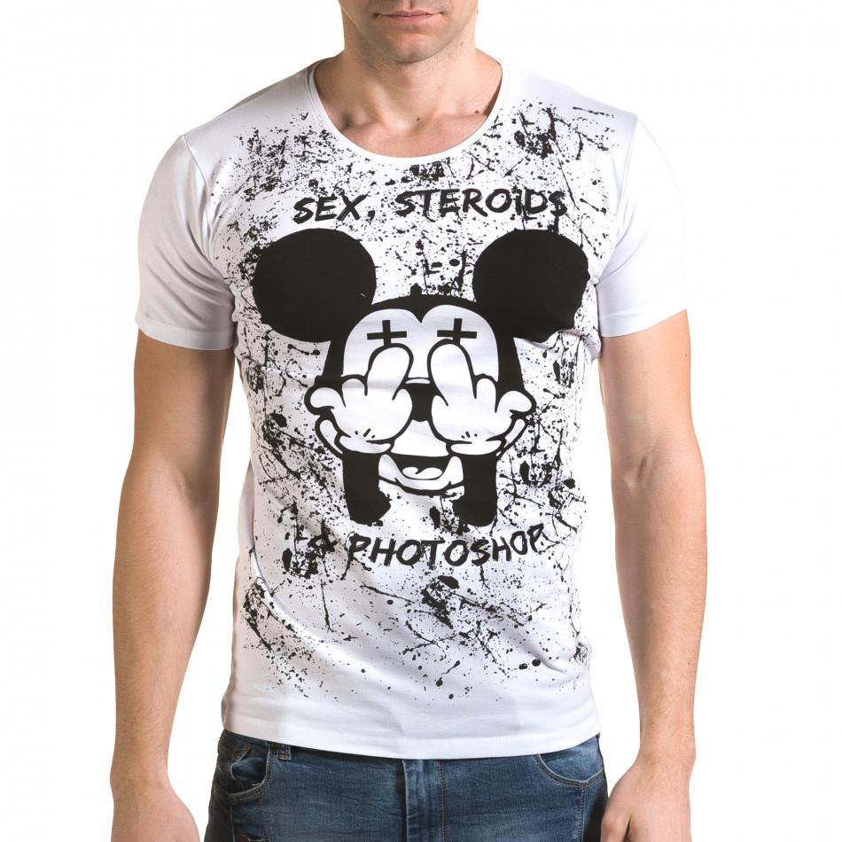 Мъжка бяла тениска с Мики Маус il120216-13