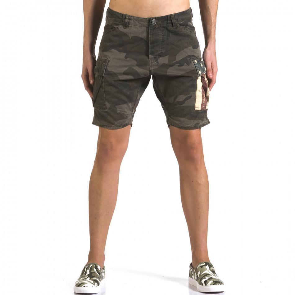 Мъжки къси панталони тъмно зелен камуфлаж it110316-55