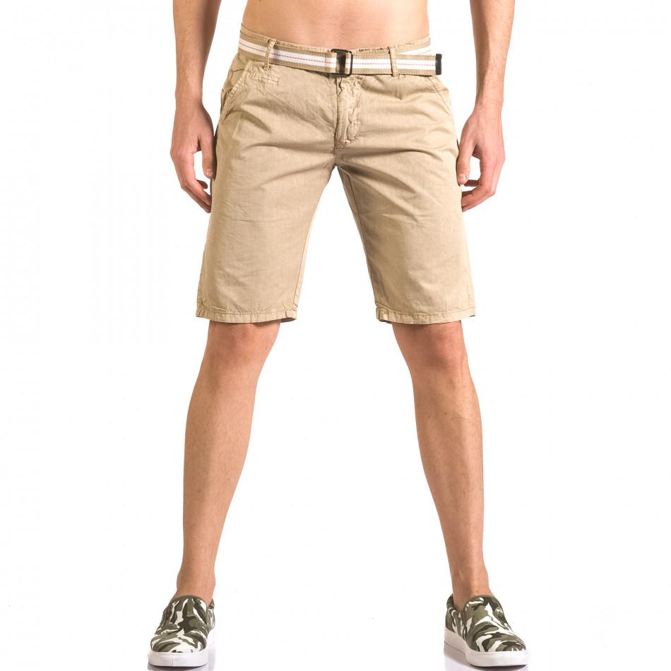 Мъжки бежов къс панталон с текстилен колан ca050416-66