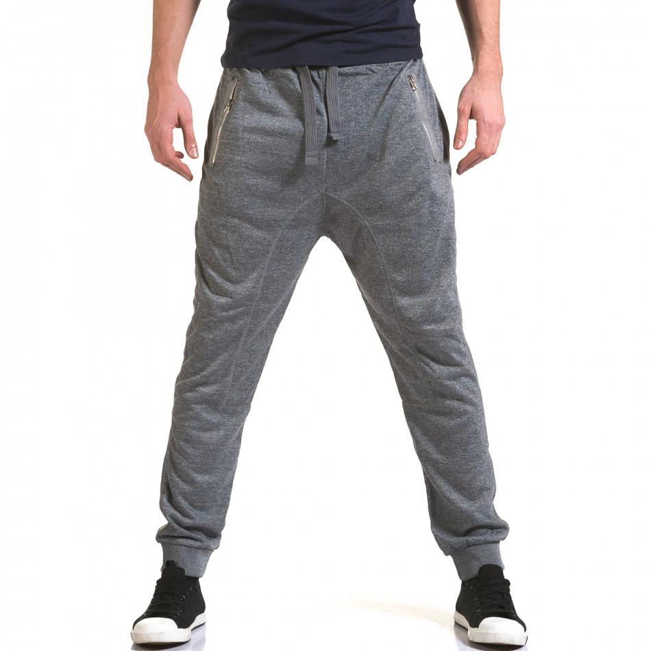 Мъжки светло сиви потури с ципове на джобовете it090216-37