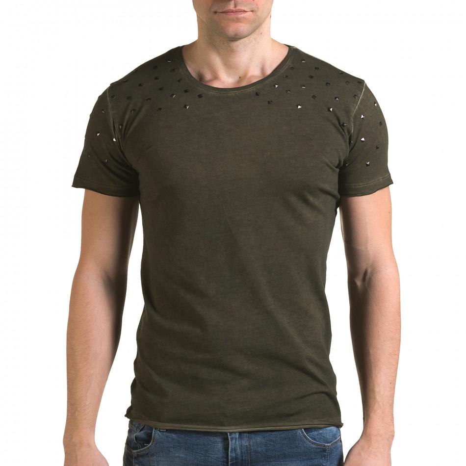 Мъжка зелена тениска с метални капси il120216-3