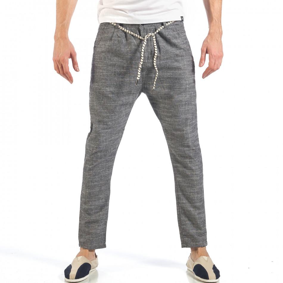 Мъжки сиви леки панталони с колан шнур it260318-109