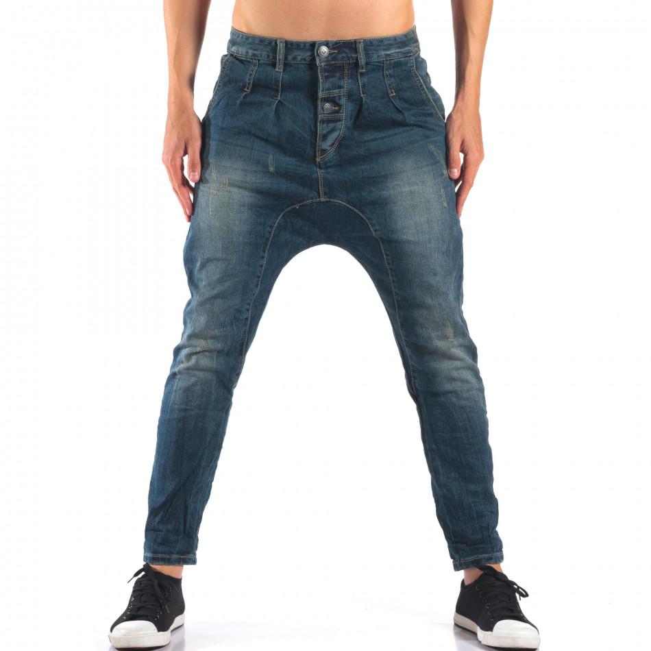 Мъжки дънки със смъкнато дъно тип потури it160616-33