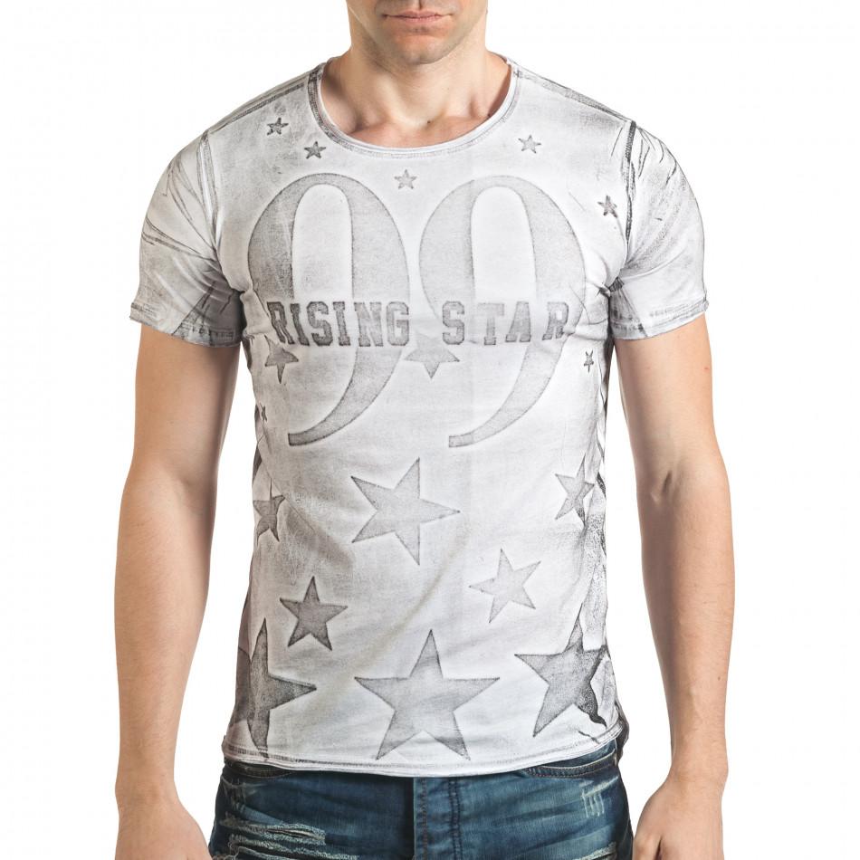 Удължена бяла тениска с принт звезди и номер il140416-15