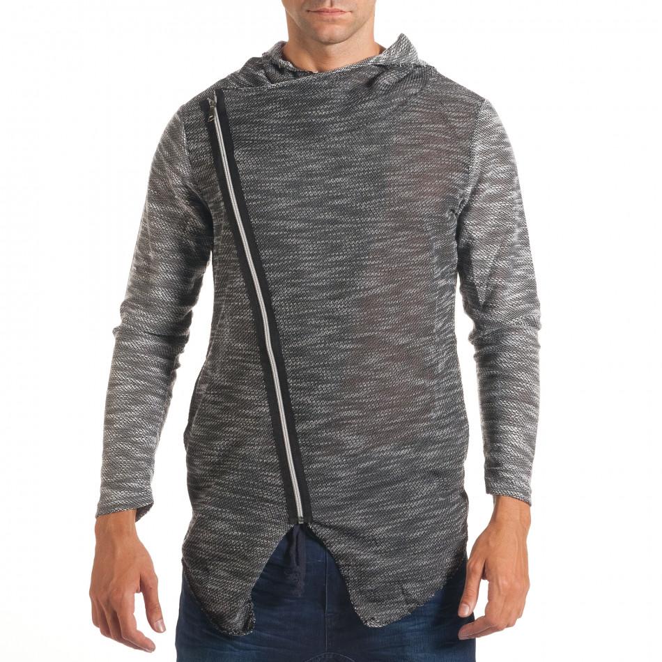Мъжки тъмно сив суичър с асиметрична кройка it240816-2