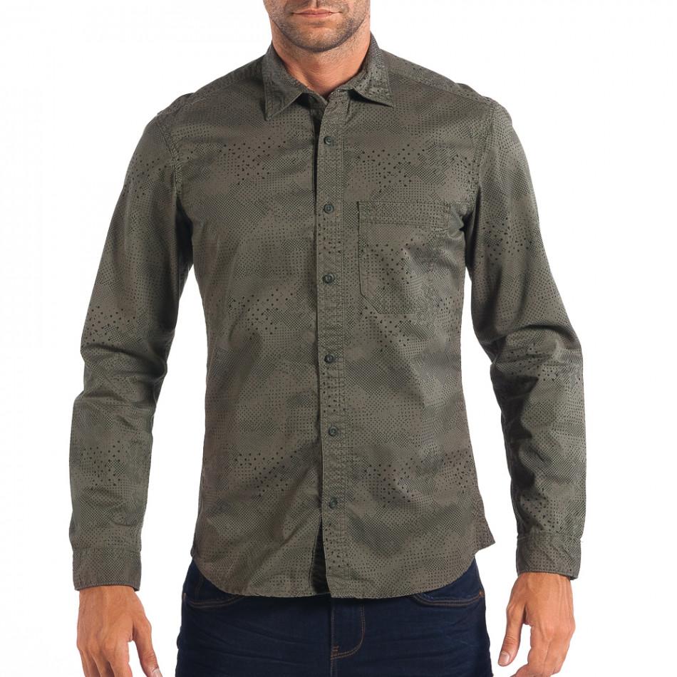 Regular риза RESERVED в зелено с дребен десен lp070818-112