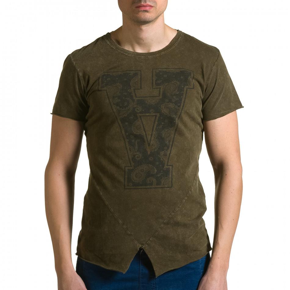 Мъжка зелена асиметрична тениска с обърната буква А ca190116-46