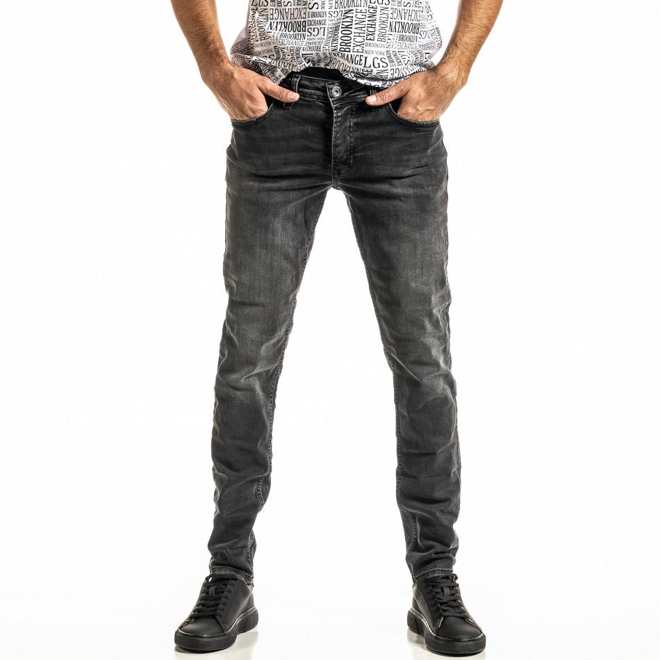 Long Slim черни дънки с избелял ефект tr300920-2