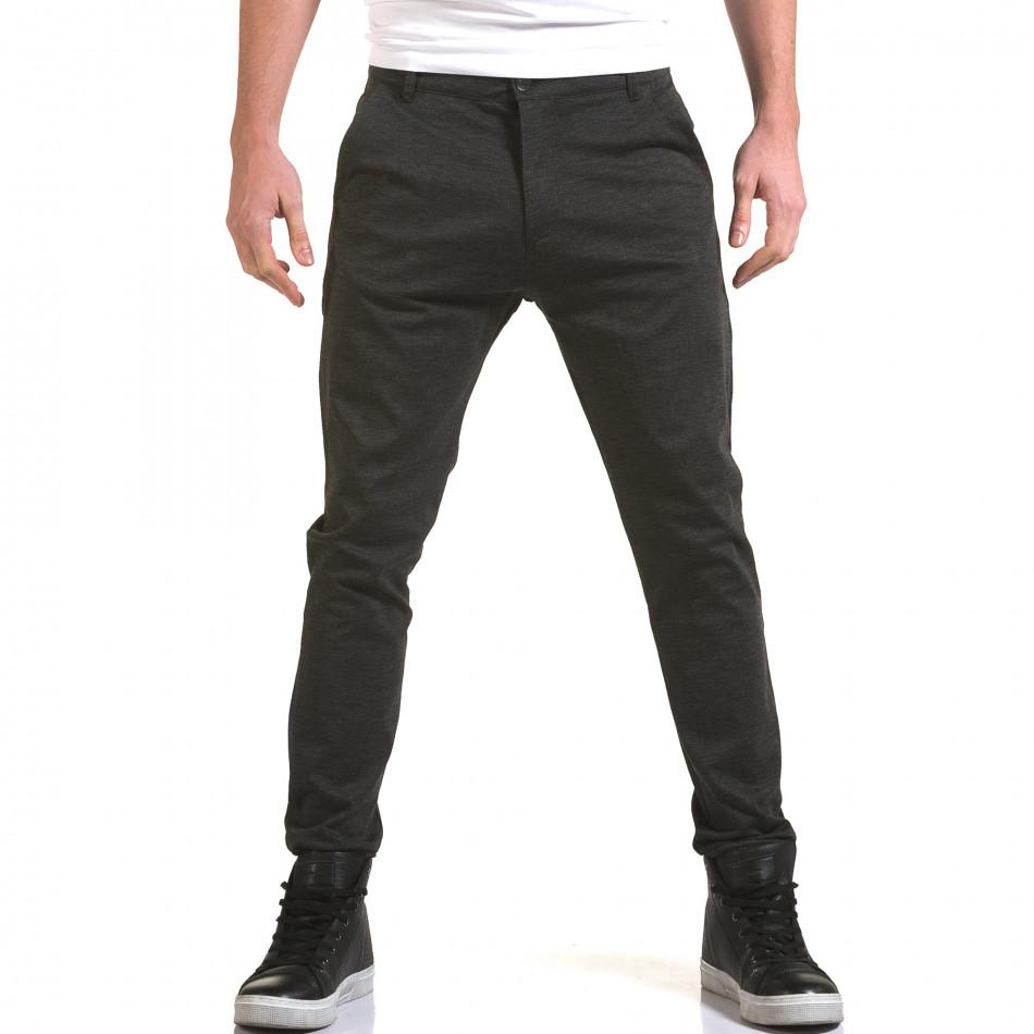 Мъжки тъмно сив панталон с италиански джобове it090216-26