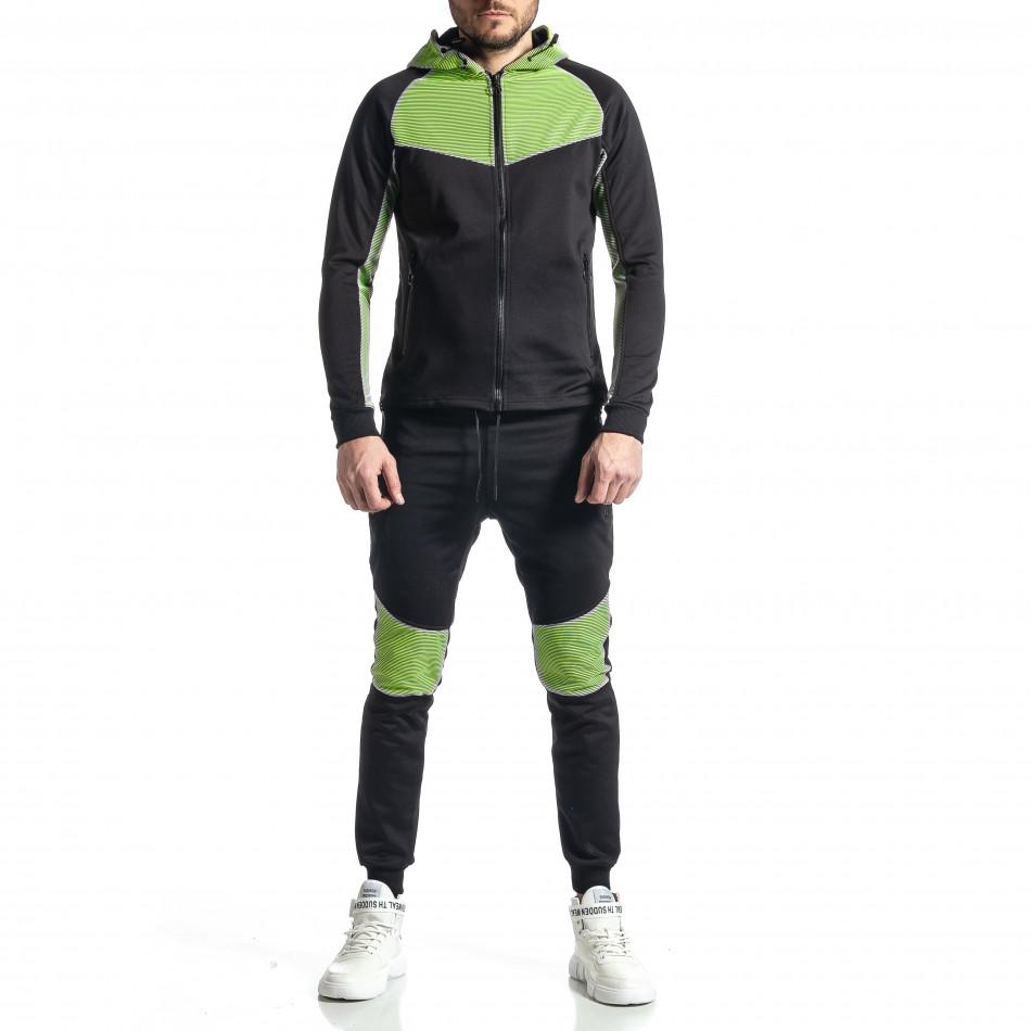 Мъжки черно-зелен анцуг Biker style it010221-58