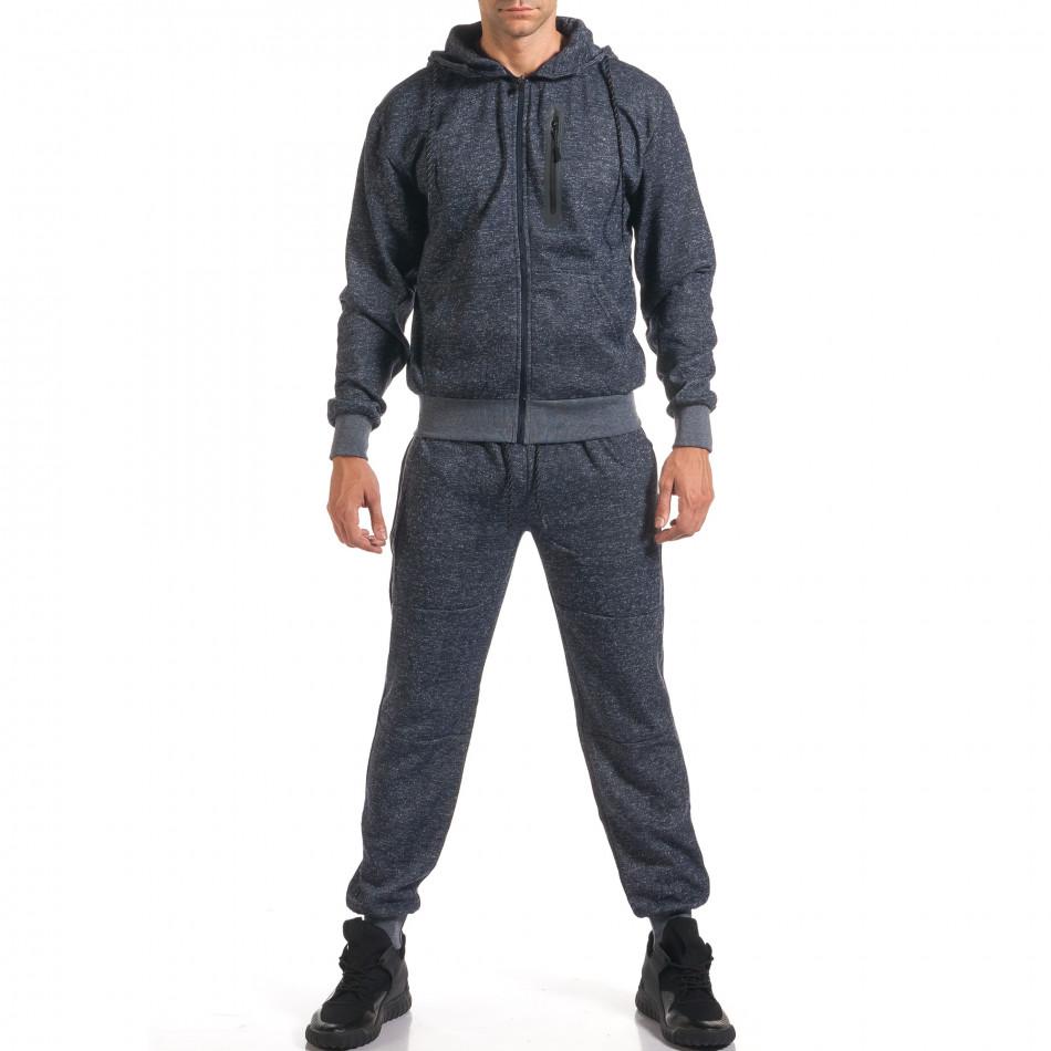 Мъжки син спортен комплект с ципове it160916-59