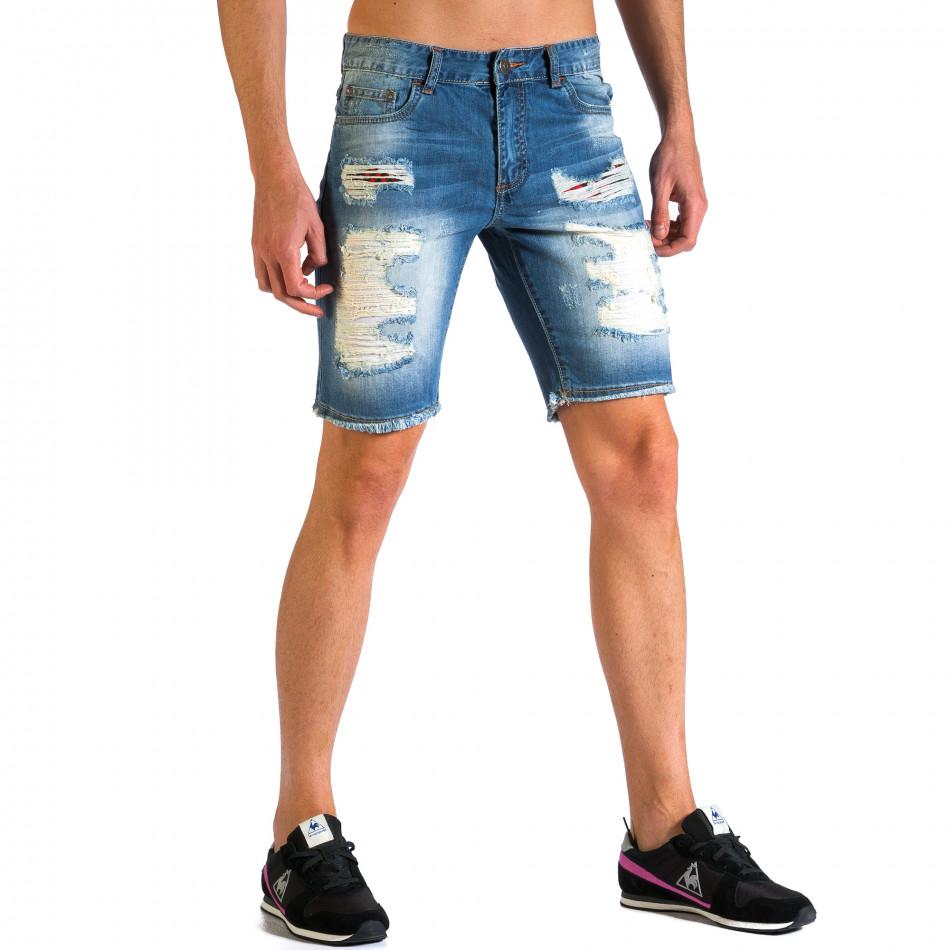 Мъжки къси дънки с големи скъсвания ca030414-2