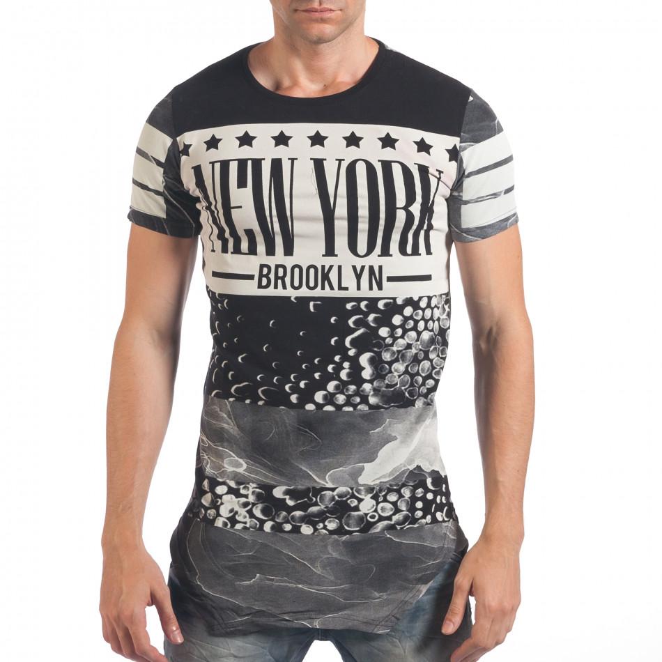 Мъжка черна тениска удължена с надпис New York il060616-2