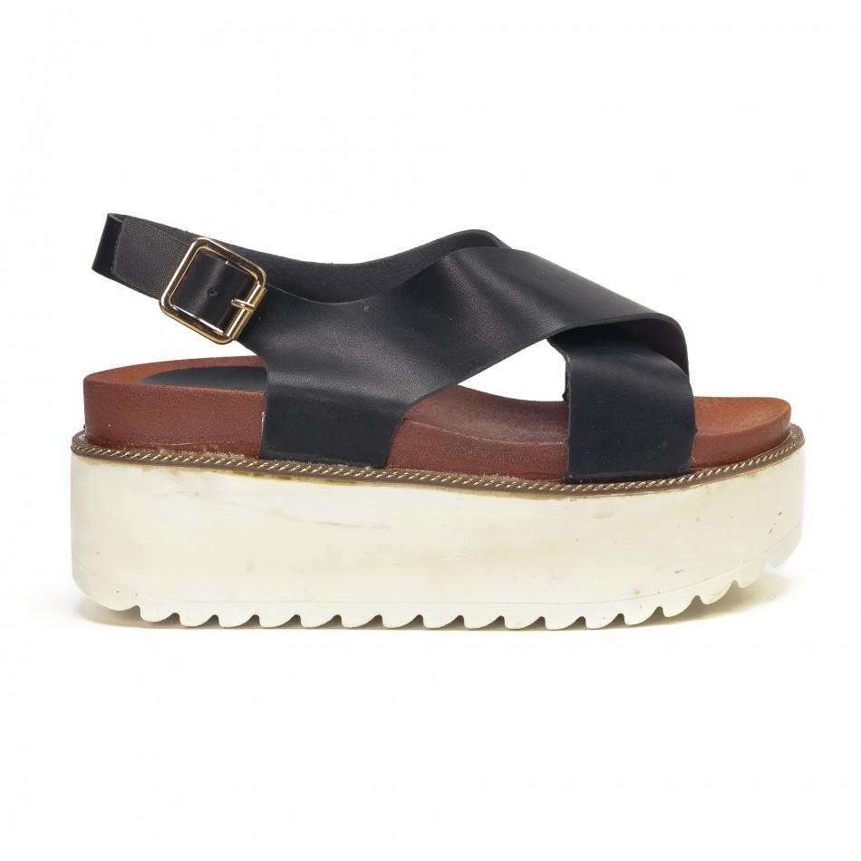 Черни дамски сандали на платформа базов модел it190618-5
