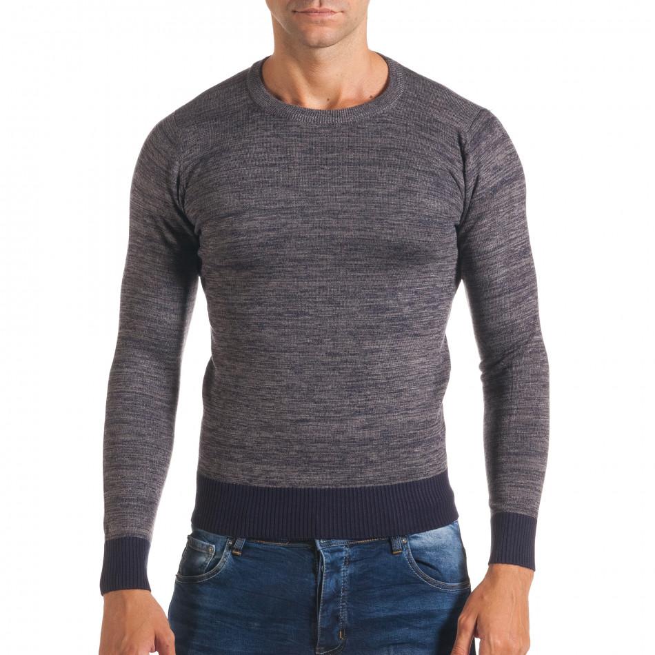 Мъжки синьо-сив пуловер с обло деколте it170816-12
