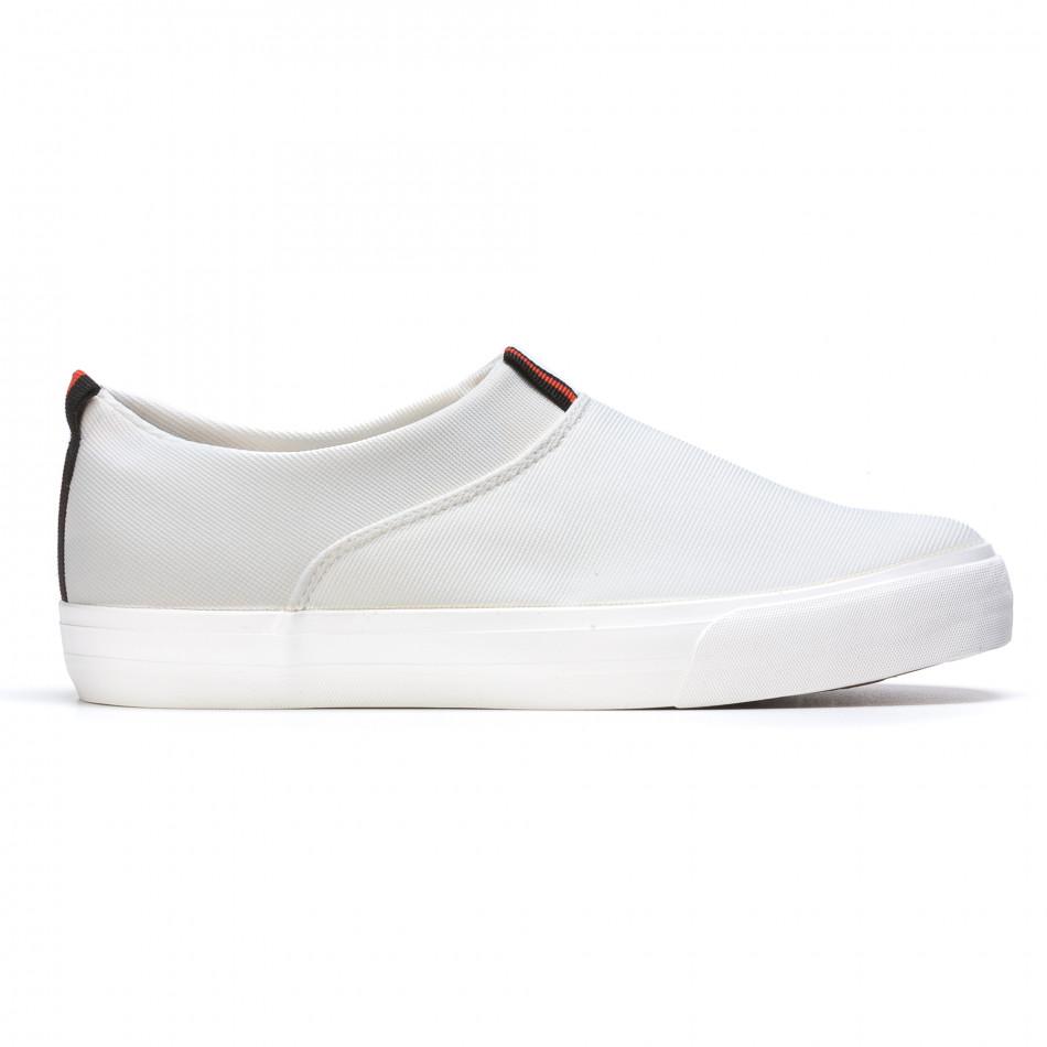 Мъжки бели текстилни кецове без връзки It050216-11