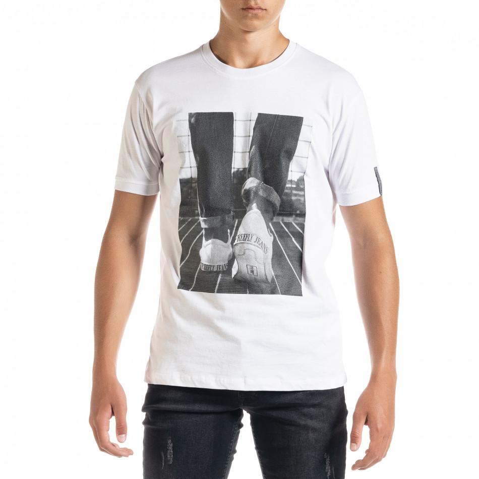 Бяла мъжка тениска с принт tr010720-31