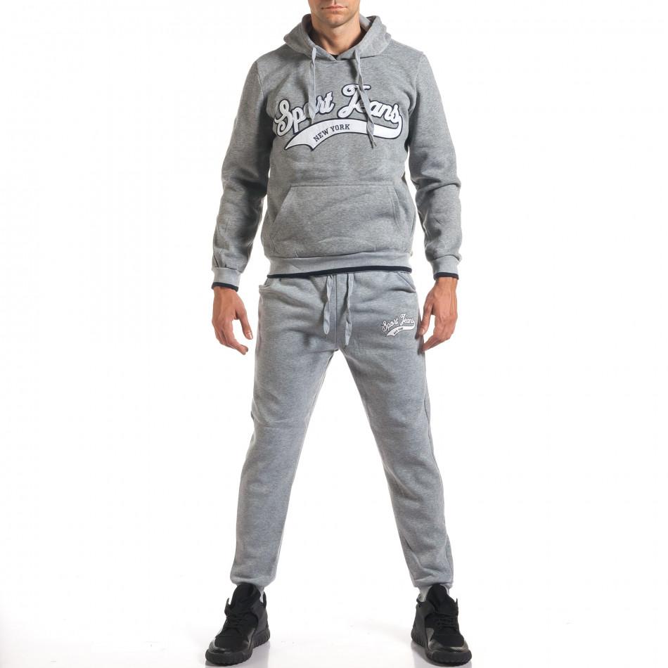 Мъжки сив спортен комплект с голям надпис it160916-69