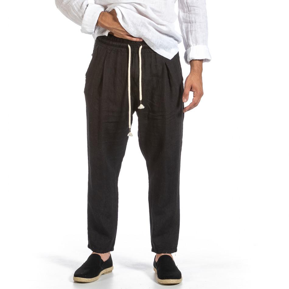 Черен ленен панталон с ластик на кръста it240621-41