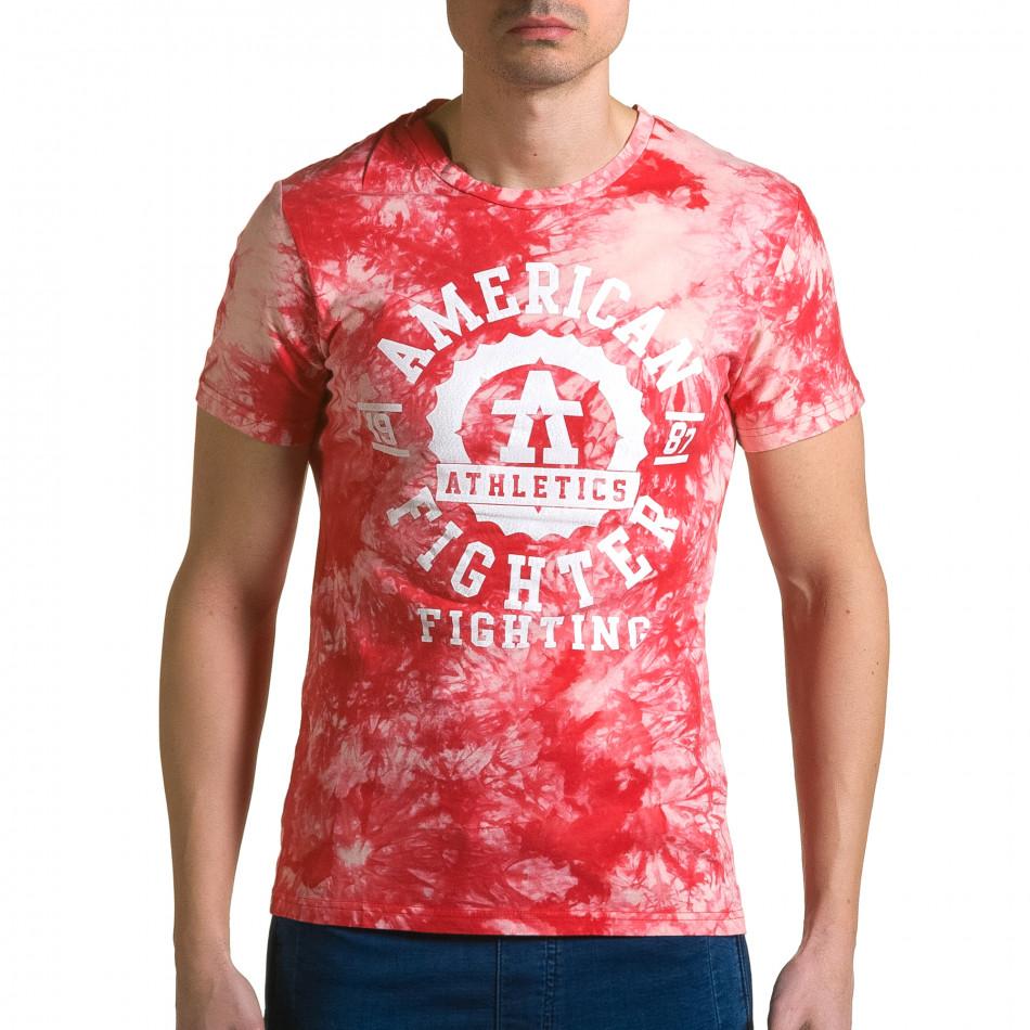 Мъжка червена тениска с бял принт отпред ca190116-44