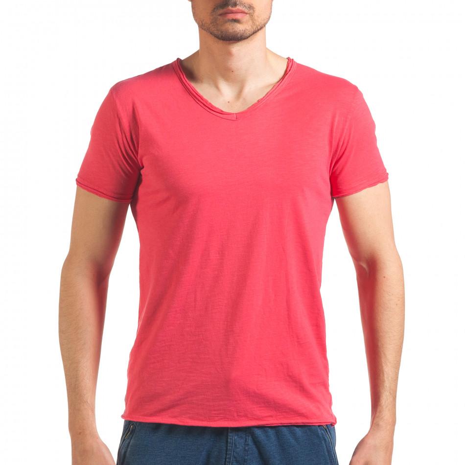 Мъжка розова тениска изчистен модел it260416-48