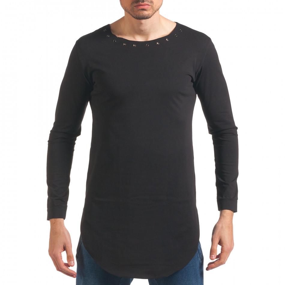 Мъжка черна блуза с дълъг ръкав и метални капси it250416-78