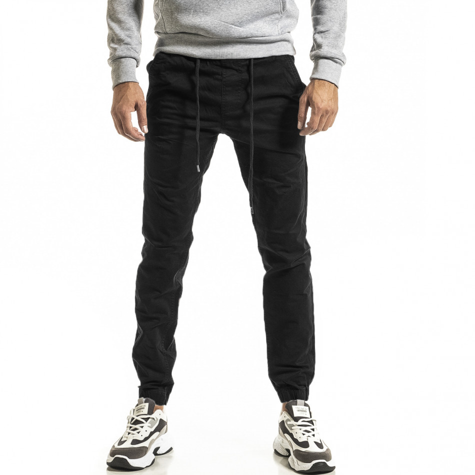 Мъжки черен панталон Jogger tr031220-1