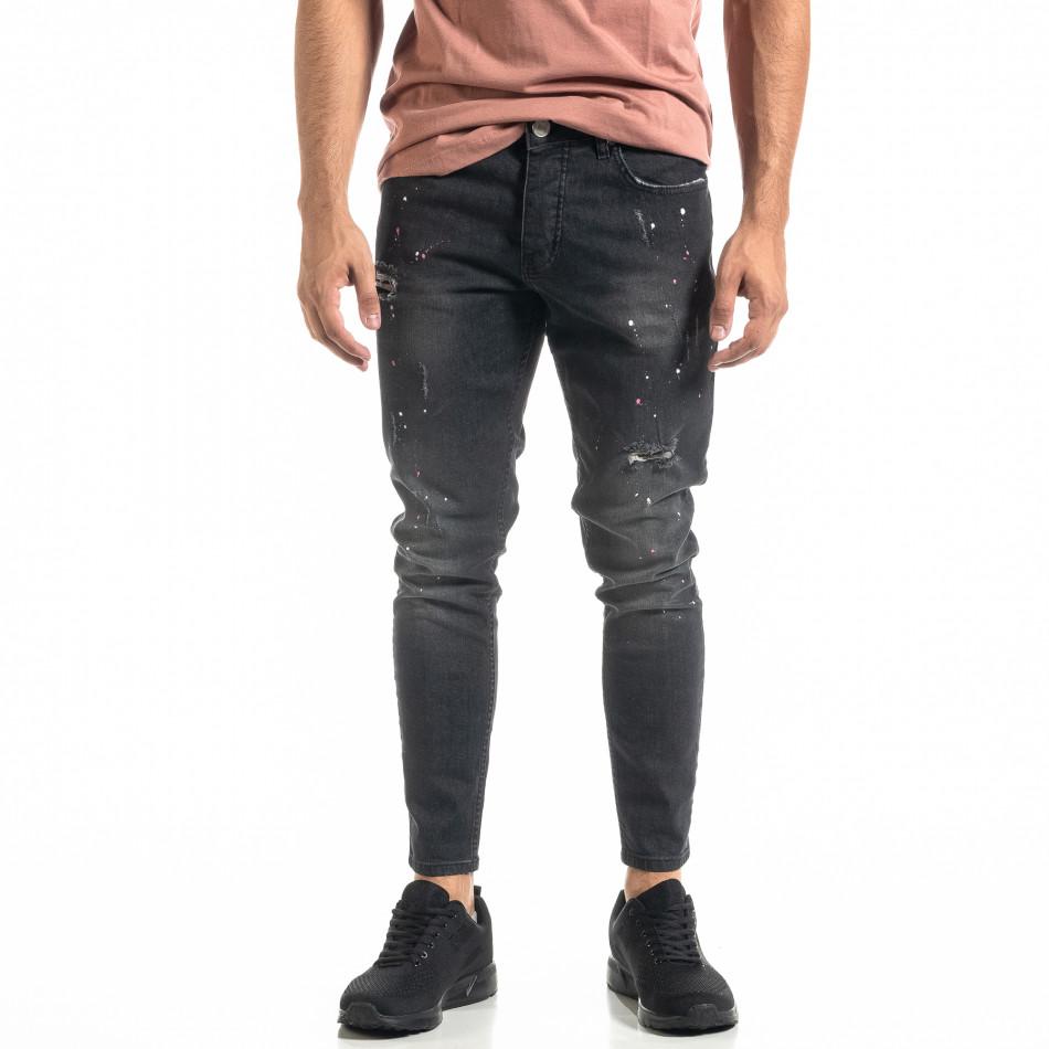 Мъжки черни дънки White Pink Paint  tr020920-7