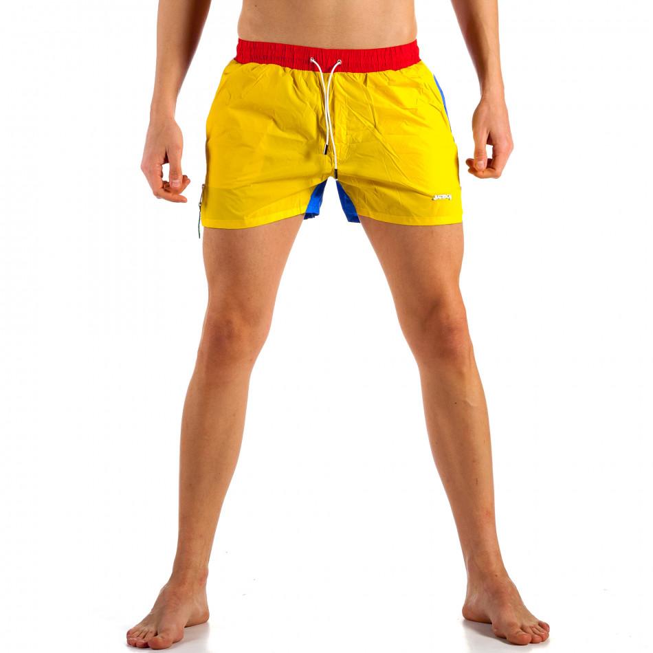 Мъжки жълто-син бански с червен ластик it230415-22