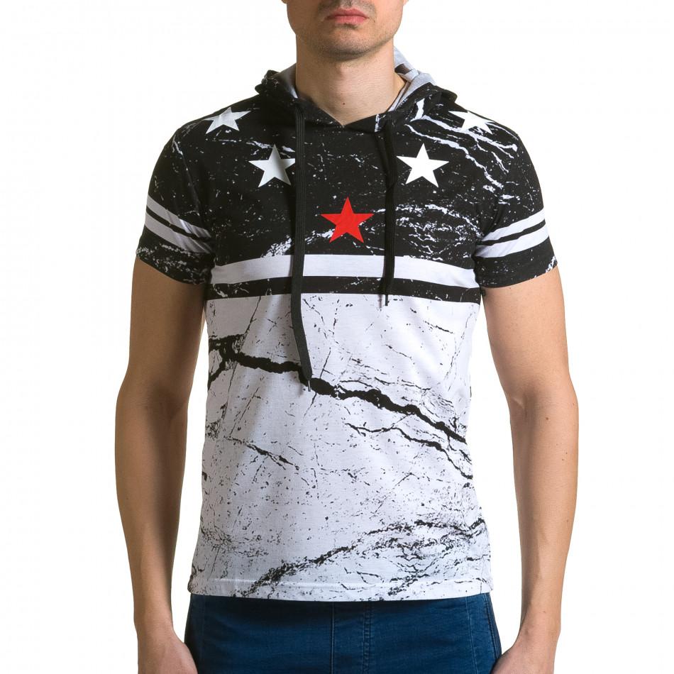 Мъжка черно-бяла тениска с качулка и принт звезди ca190116-40
