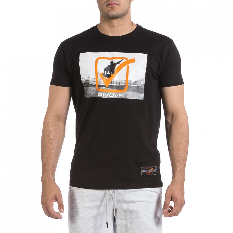 Мъжка черна тениска Givova it040621-19