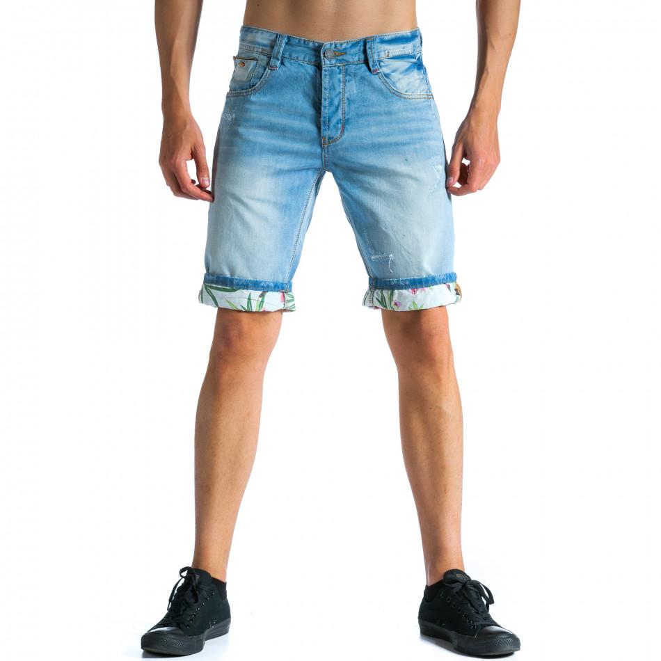 Мъжки светло сини къси дънки с подплата на цветя tsf300514-23