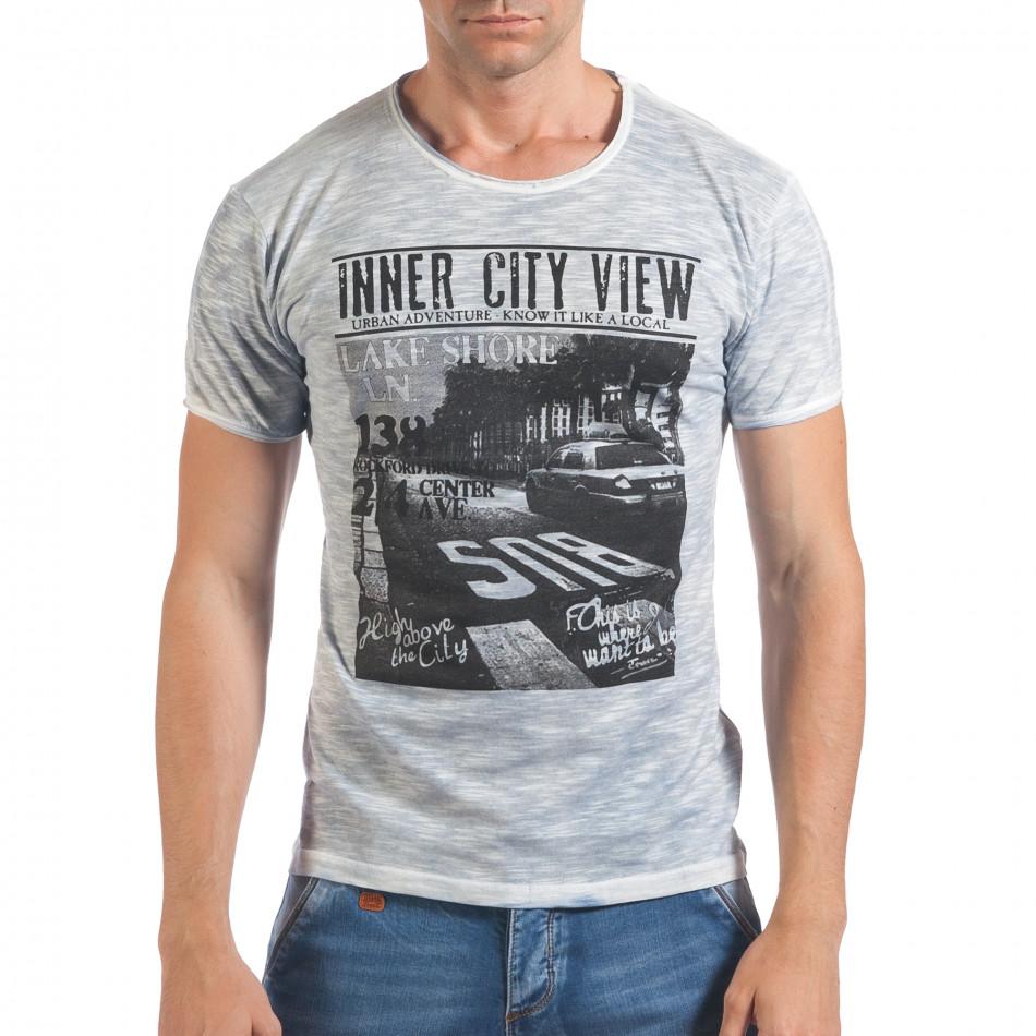 Мъжка синя тениска с принт и надпис Inner City View il060616-40