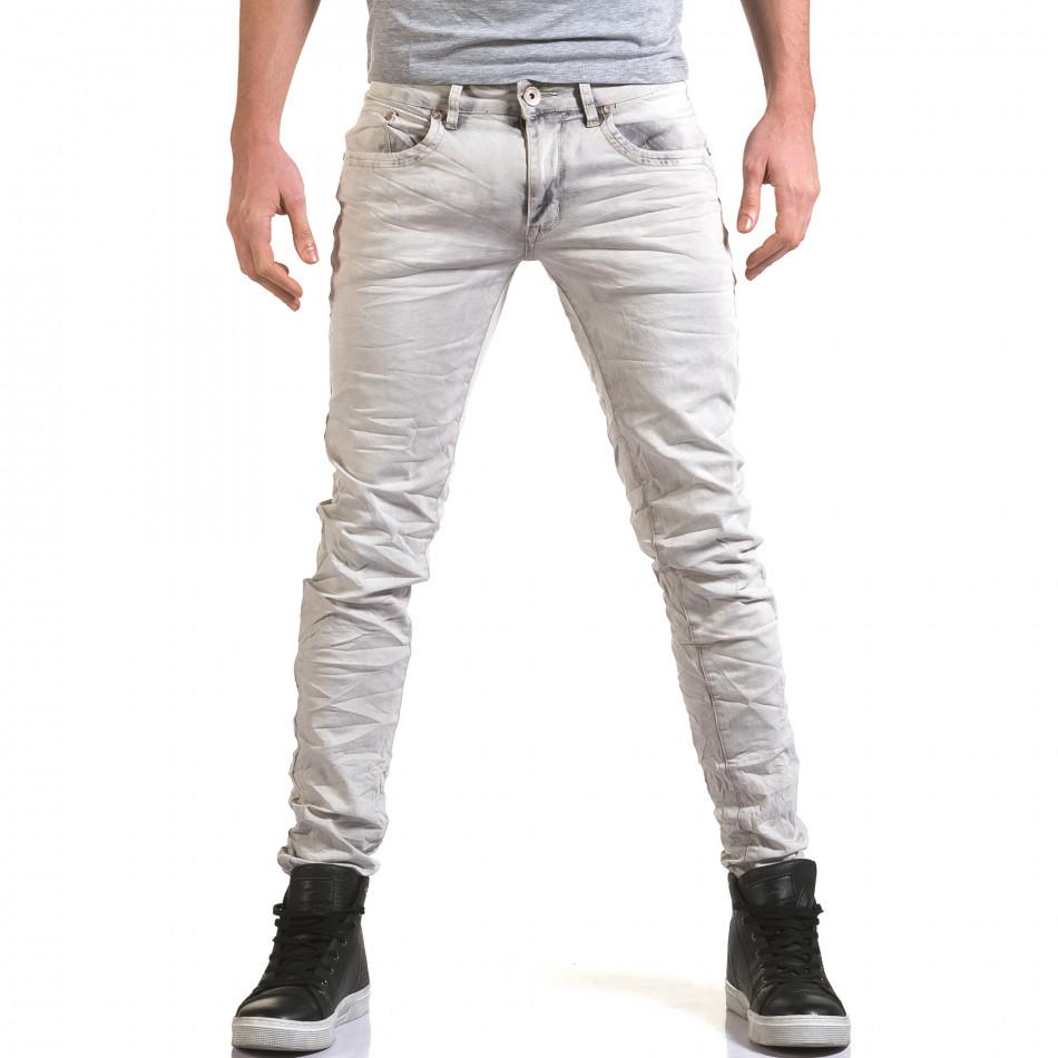 Мъжки светло сив дънков панталон с избелял ефект it090216-22