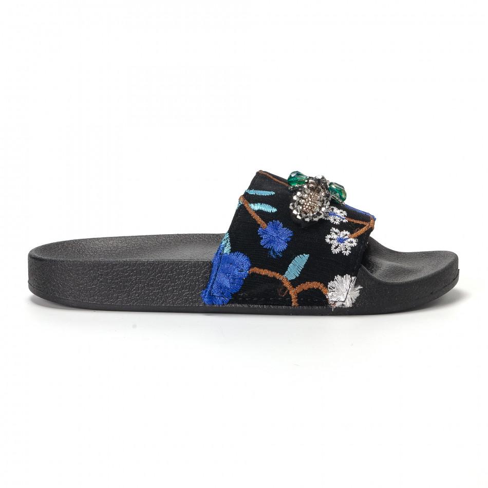 Дамски сини чехли с бродерии и камъни it230418-64