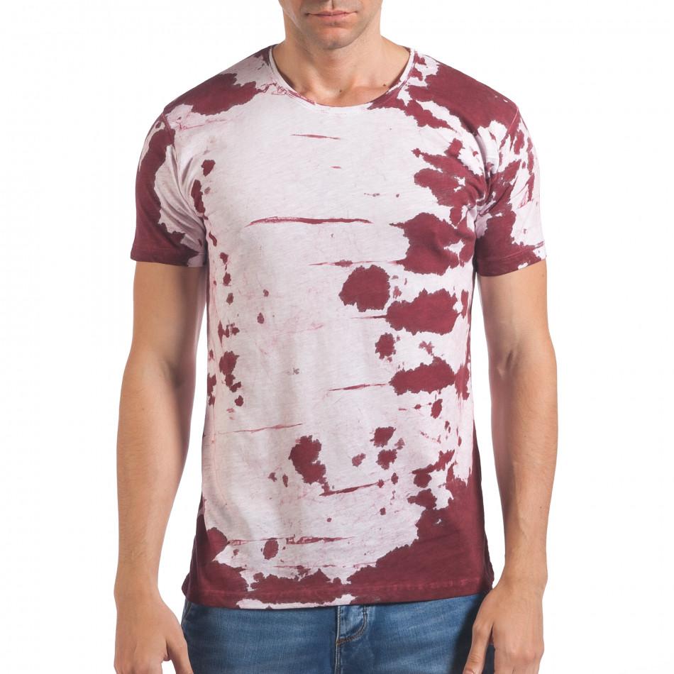 Мъжка бяла тениска с червен принт il060616-55