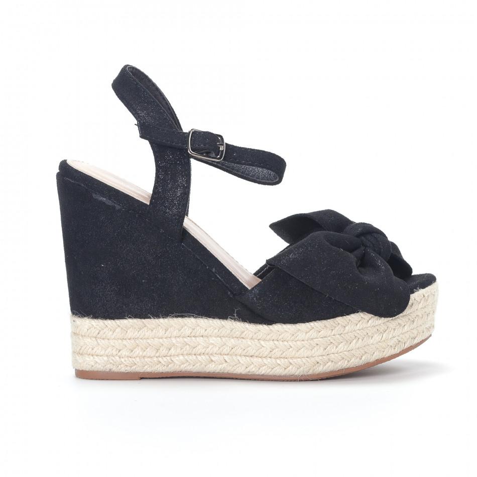 Дамски черни сандали на платформа it230418-40