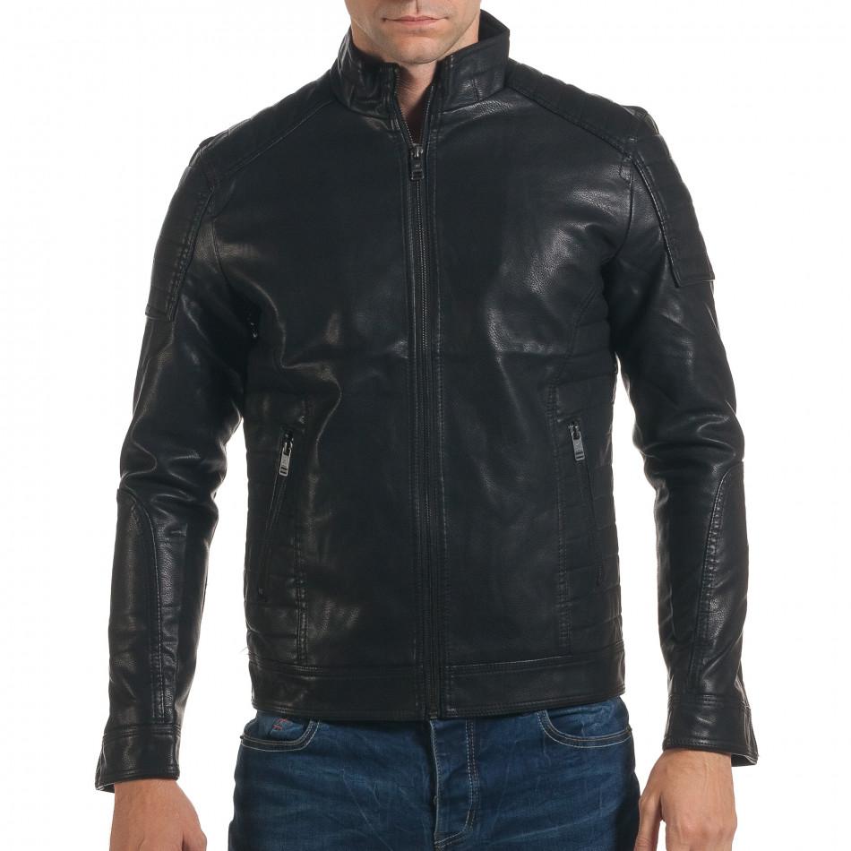 92676b2c966 Мъжко черно кожено яке слим фит it191016-87 | Fashionmix.bg
