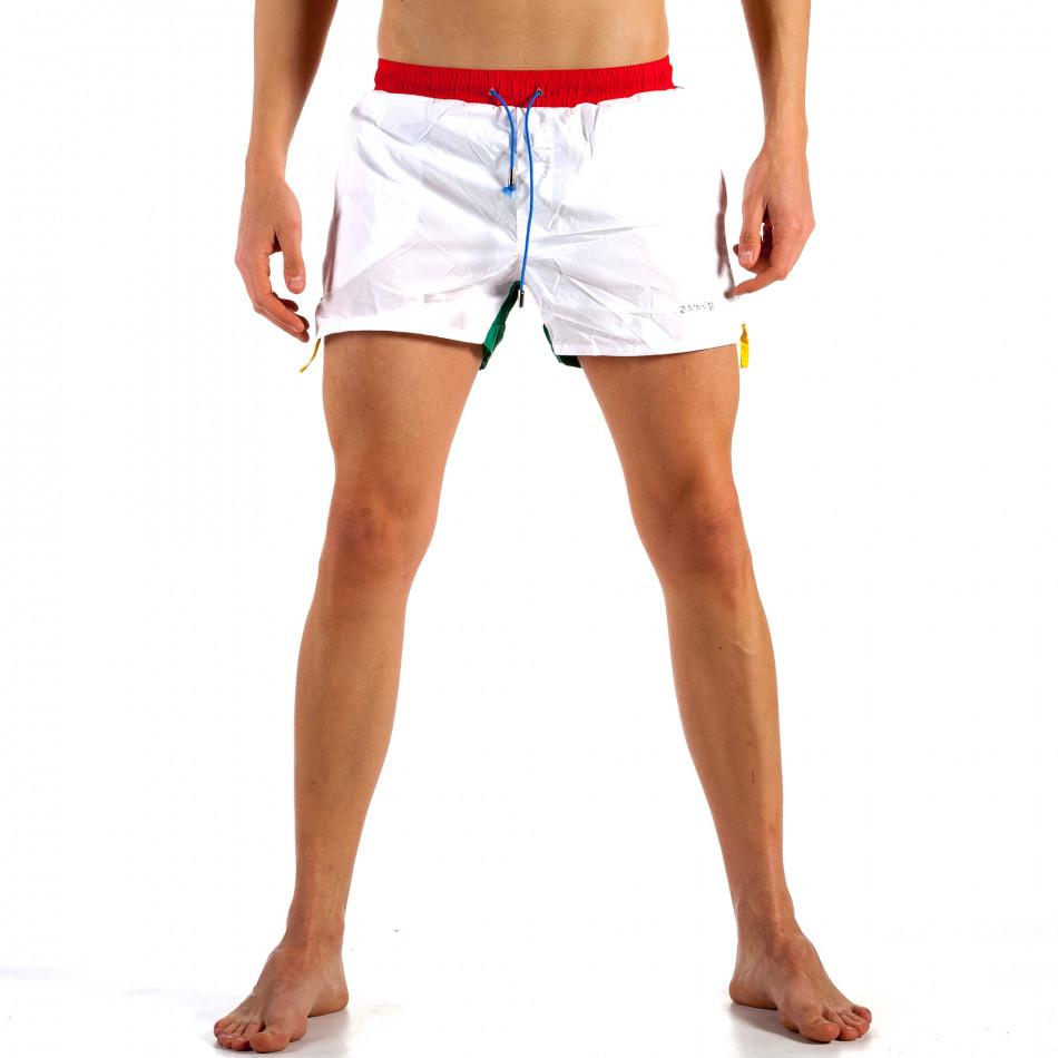 Мъжки бяло-зелен бански с червен ластик it230415-20